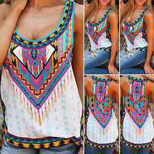 Women's Bohemian Cami Tank Top Boho Ethnic Blouse Split T-Shirt Tee Top Singlets