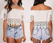 Sexy Womens Off Shoulder Lace Strapless T-Shirt Summer Casual Loose Tops Blouse