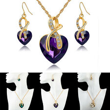 Fashion Women Charming Crystal Heart Earrings Necklace Wedding Jewelry Set TO