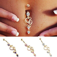 Rhinestone Body Piercing Dangle Crystal Navel Belly Button Bar Barbell Rings