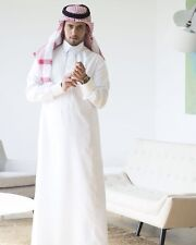 Saudi Dishdasha Arabic men thobe jalabeya Full Embroidered Collar Cufflink+Pants
