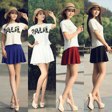 New Women Mini Elegant Pleated Skirts With Safety Shorts Stretch Waist Sweet Hot
