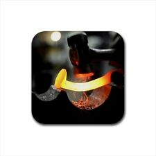 Blacksmithing Bottle Opener Keychain and Beer Drink Coaster Set