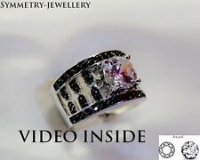 Fine Jewellery Rings White & Black 2.85CT Diamond Engagement Ring St Silver