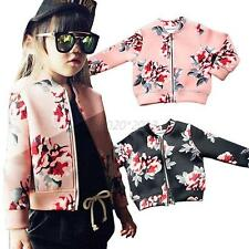 Kids Girls Floral Fall/Winter Coat Zipper Coat Lock Cotton Jacket Outwear 2-7Y