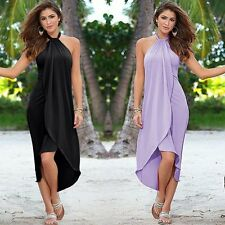 Women Summer BOHO Halter Long Maxi Evening Party Long Dress Beach Dress Sundress