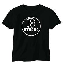 BOSTON MARATHON B STRONG SHIRT BLACK WHITE LOGO REMEMBERANCE BOSTON