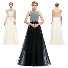 Beaded Netting Long Prom Dresses Evening Party Ball Gown Bridesmaid Formal Dress