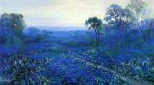 Handmade Julian Onderdonk Field of Bluebonnets Oil Painting repro on Canvas AND7