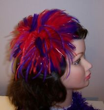 Red Hat Ladies - Red & Purple Ostrich Feathered Comb or Fascinator comes w/Box