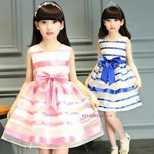 New 2016 Summer Kids Young Girls Striped Lovely Bow Party Dance Dresses 4-13Y