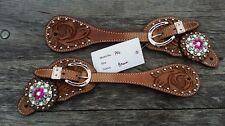 Western spur straps leather pink crystal bling assorted
