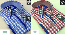 New Mens Smart Casual Summer Double Collar Italian Design Check Slim Fit Shirt