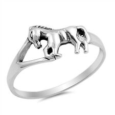Sterling Silver 925 PRETTY WALKING HORSE DESIGN SILVER RING 9MM SIZES 4-10