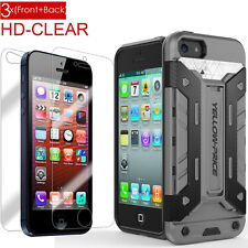 Hybrid Stand Rugged Card Slot Armor Hard Case+Screen Film For iPhone5 5S 5C SE