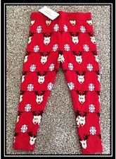 Gorgeous Girls Red Christmas Woolly Knitted Reindeer Leggings BNWT Ages 2-7 YRS