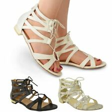 Womens Flat Gladiator Lace Up Flat Strappy Sandals Ladies Cut Out Shoes Size