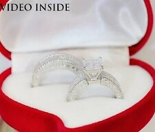 3.8CT Princess Cut Fine Jewellery Rings Fine.925 St Silver Made in Italy JYB16*