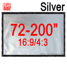 72-200 Inches PVC Metal Gray Silver Projection Screen Curtains for 3D Projectors