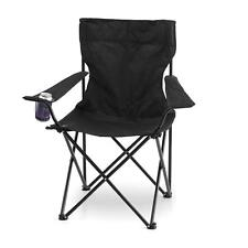 Black Foldable Camp Chair w cup holder | Beach Camping Picnic Outdoor