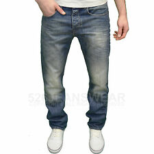 Voi Mens Designer Branded Relaxed Fit Straight Leg Aged Blue Denim Jeans, BNWT