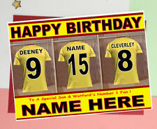 WATFORD FOOTBALL FAN 'DRESSING ROOM' Personalised Birthday Card ANY NAME/AGE!