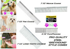 Master Grooming PRO GREYHOUND Style STEEL Dog Cat Pet GROOMING COMBS*ALL BREEDS