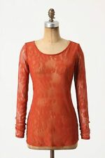 Anthropologie Lacy Longsleeved Tee Sz M, Red Lace Layering Top Blouse Ella Moss