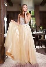 Nude Champagne Strapless Sweetheart Rhinestone Evening Pageant Prom Gown UK 8-16