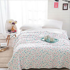 100% Cotton Summer Thin Comforter Feather White Blanket Throw Aircon Room Quilt