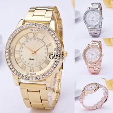 Women Stainless Steel Round Watch Resin Rhinestone Decor Quartz Wristwatch TXGT