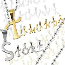 Pendant letter alphabet name A B C  + Necklace Ball Chain Stainless Steel