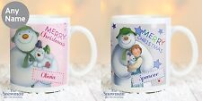 The Snowman & The Snowdog Personalised Pink or Blue Mug P0805F49