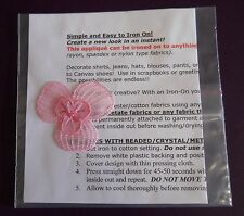 Iron-on Applique - Pink 2-inch Organza Flower w/Beads w/Instructions