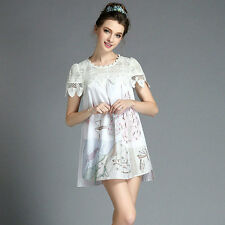 Women White Vintage Embroidery Bead On Applique Dress Evening Party A Line Dress