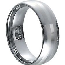 MEN'S 8mm Wide Tungsten Carbide Band Comfort Fit Ring Brushed and High Polished