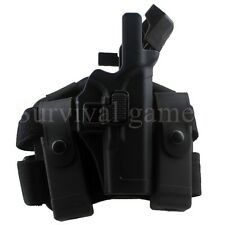 Tactical Right Drop Leg Thigh Level 3 Lock Duty Pistol Holster f/ Glock 17 19 22