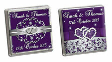 PERSONALISED SILVER/PURPLE NEAPOLITAN WEDDING CHOCOLATE FAVOURS. GUEST. GIFT.