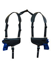 NEW Barsony Horizontal 2 Gun Shoulder Holster for 9mm 40 45 Semi-Auto Pistols