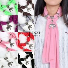 Necklace Scarves Charm Ring Jewelry Alloy Elephant Pendant Scarf Vintage TXSU
