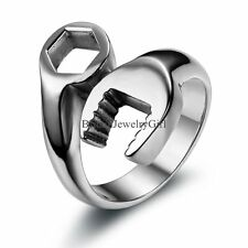 Cool Mens Stainless Steel Biker Mechanic Wrench Ring Band US Size 7-13 Boys Gift