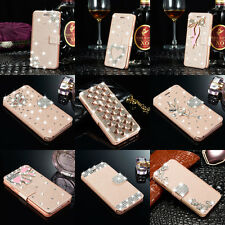 Rose Gold Silk Leather Bling Diamond Case Stand Cover Wallet For Apple iPhone