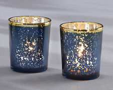 Navy Blue & Gold Mercury Glass Tea Light Candle Holder Bridal Wedding Favor