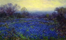 Handmade Julian Onderdonk Field of Bluebonnets Oil Painting repro on Canvas AND8