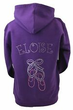 Ballet Hoodie Personalised Rhinestone Diamante Design ZIP UP JACKET Any Name