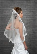 1 layer short white ivory lace edge wedding bridal Bride veil elbow with comb