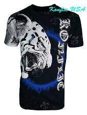 Konflic NWT Men's White Tiger with Blue Halo Flame Graphic MMA Muscle T-Shirt