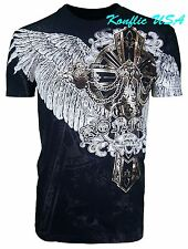 Konflic NWT Men's Giant Golden Cross with Wings Graphic MMA Muscle T-Shirt