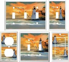 LIGHTHOUSE BEACH SUNSET BEAUTIFUL LIGHT SWITCH COVER PLATE OR OUTLET V821