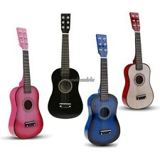 "23"" Wood Toy 6 String Children Acoustic Guitar+Pick+Strings Pink/Black/Blue CLSV"